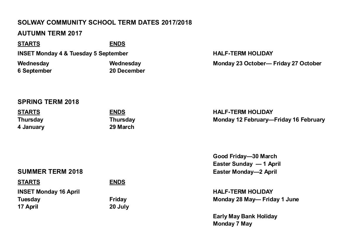 Term Dates 17-18