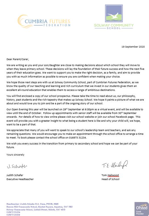 Prospectus Letter