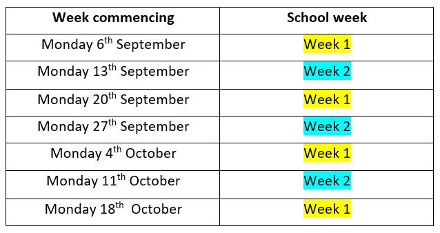 Half-term 1 2021-22 week timetable
