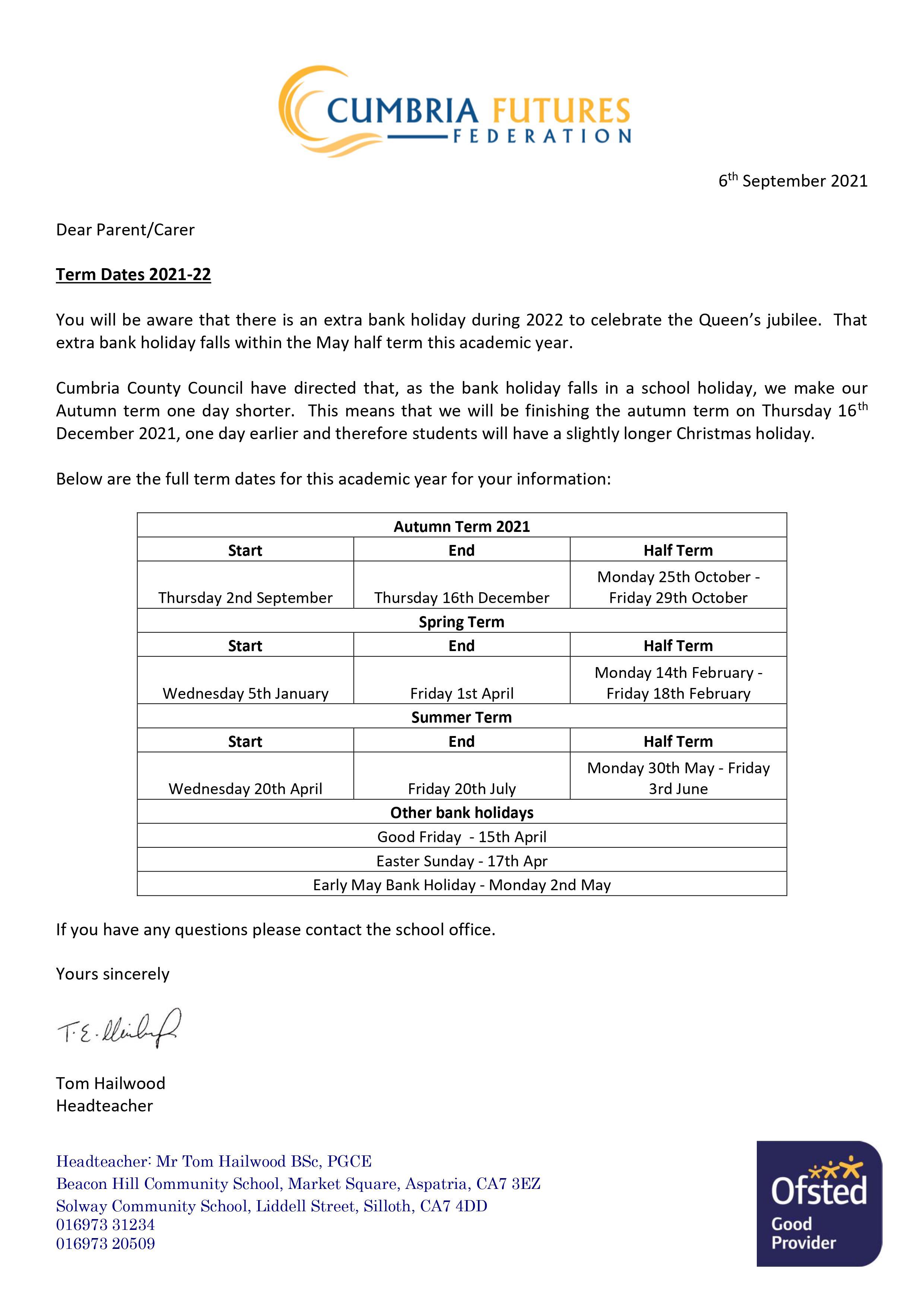 Term Dates 2021-22 060921